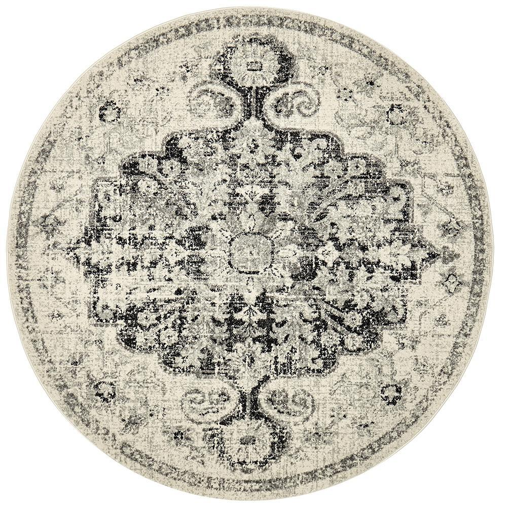 National Prado Charcoal Round Rug