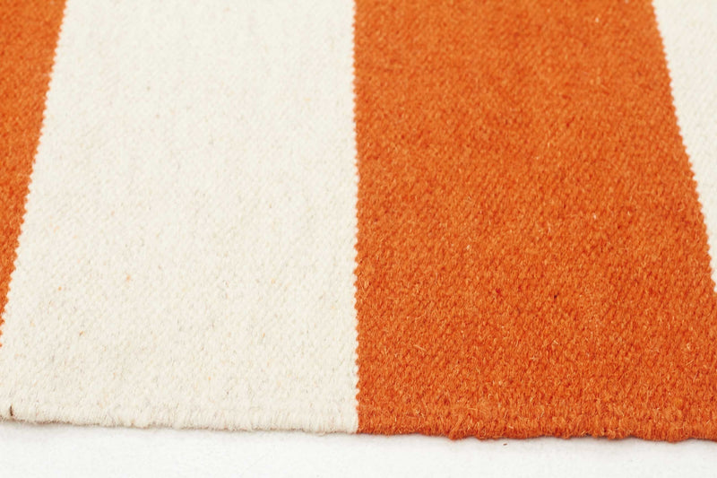 Flat Weave Stripe Orange White Rug