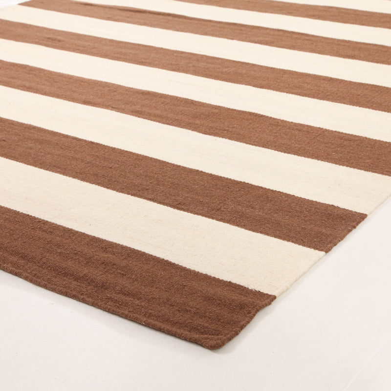 Flat Weave Stripe Light Brown White Rug