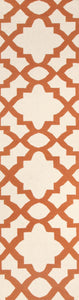 Flat Weave Trellis Design Orange White Runner Rug