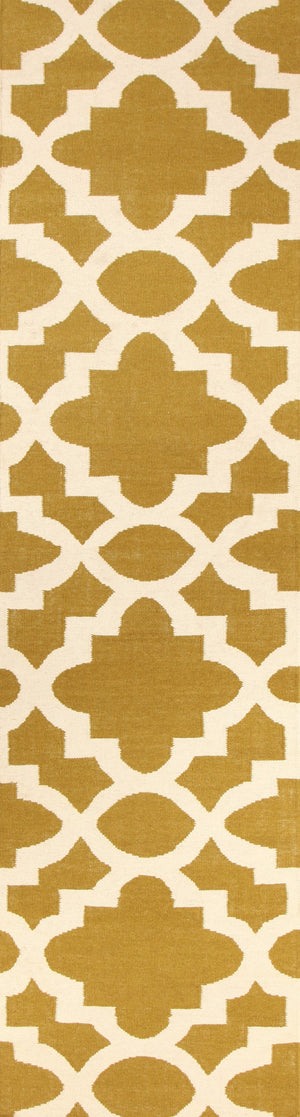 Flat Weave Trellis Design Green White Rug