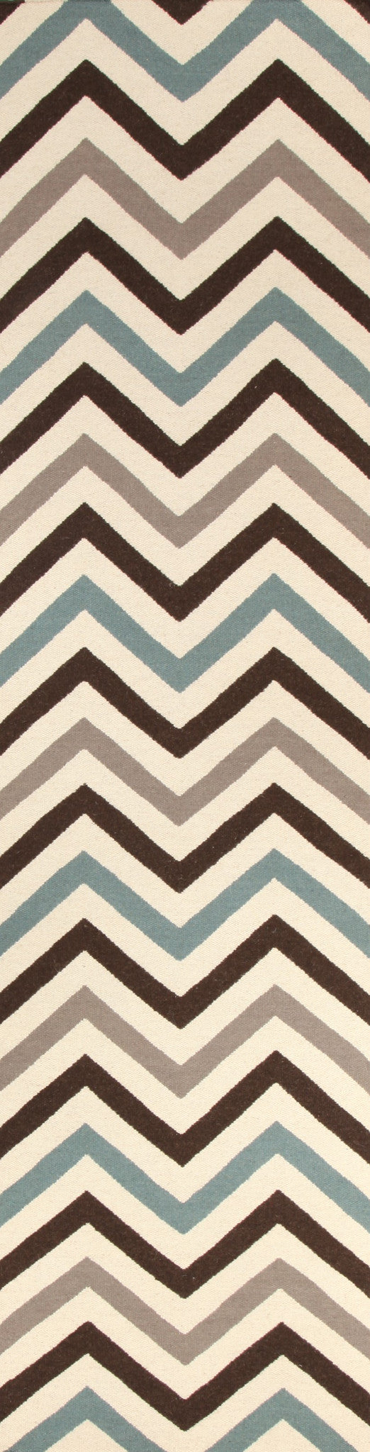 Flat Weave Chevron Design Blue Brown Runner Rug