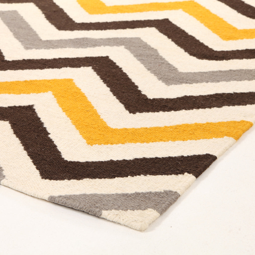 Flat Weave Design Yellow Brown Rug