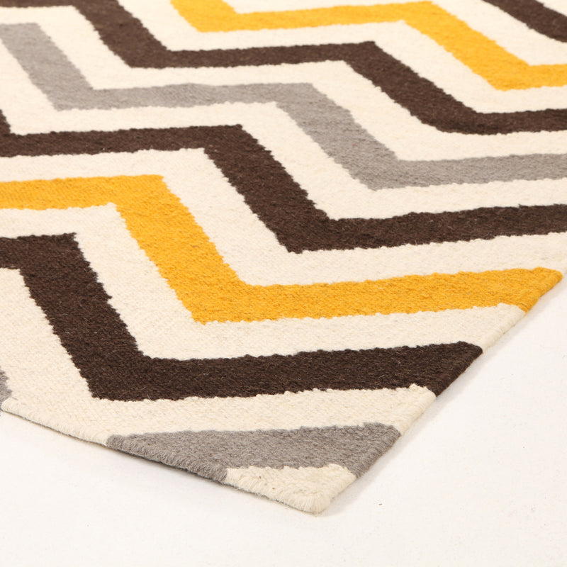 Flat Weave Design Yellow Brown Runner Rug