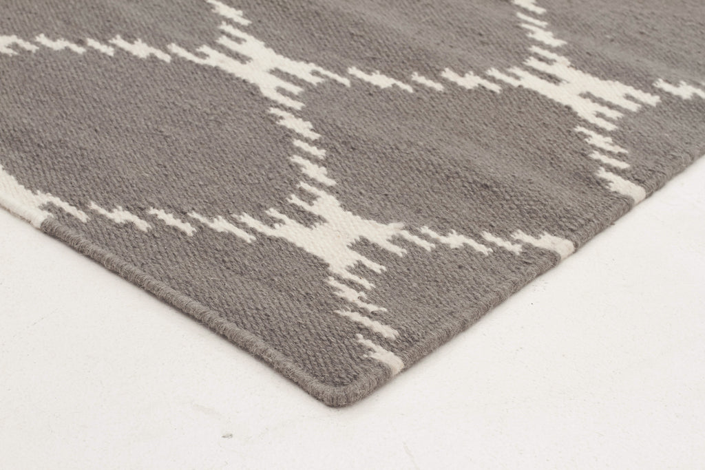 Flat Weave Stitch Design Grey Rug