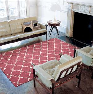 Flat Weave Stitch Design Pink Runner Rug
