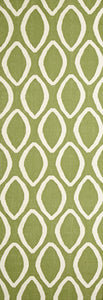 Flat Weave Oval Print Green Runner Rug