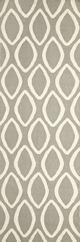Flat Weave Oval Print Grey Runner Rug