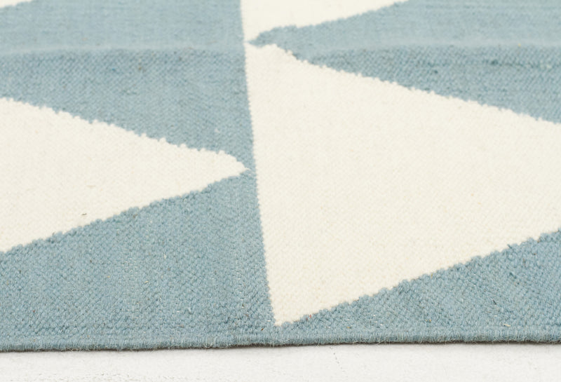 Pyramid Flat Weave Blue Runner Rug