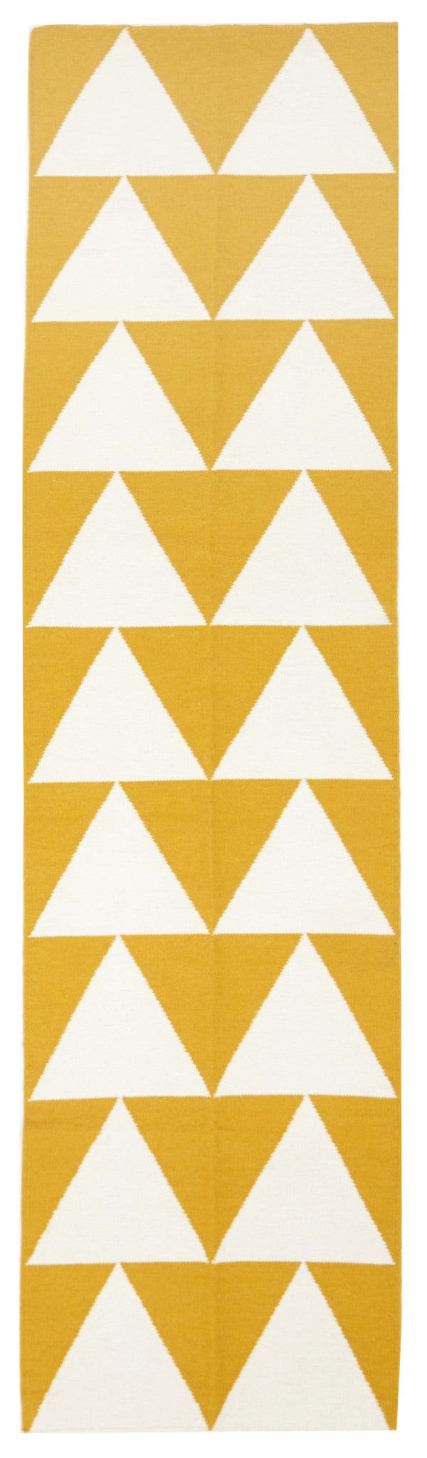 Pyramid Flat Weave Yellow Runner Rug