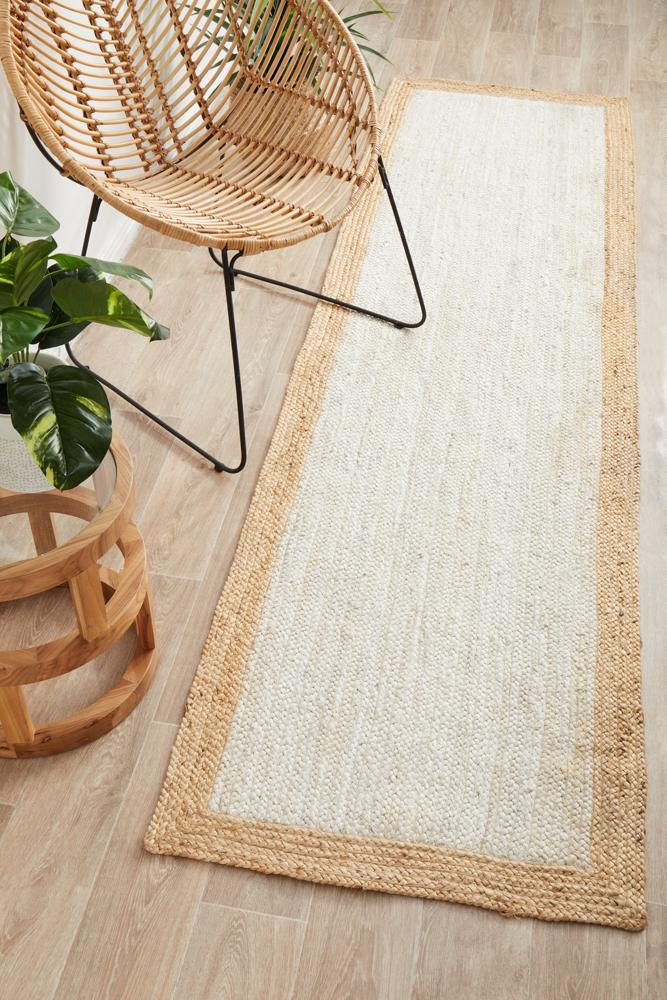 Nootka Taboo White Natural Runner Rug