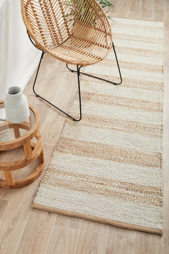 Nootka Strip Natural White Runner Rug