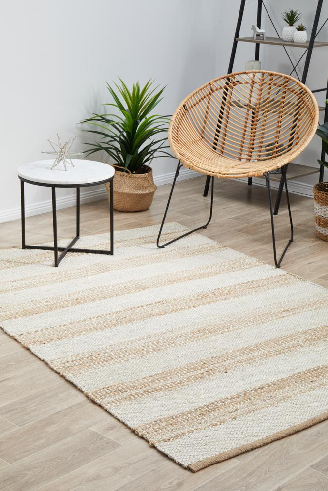 Nootka Strip Natural White Rug