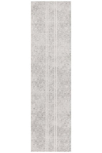 Gynama White And Grey Tribal Runner Rug