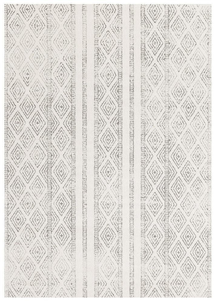 Gynama White And Grey Tribal Rug