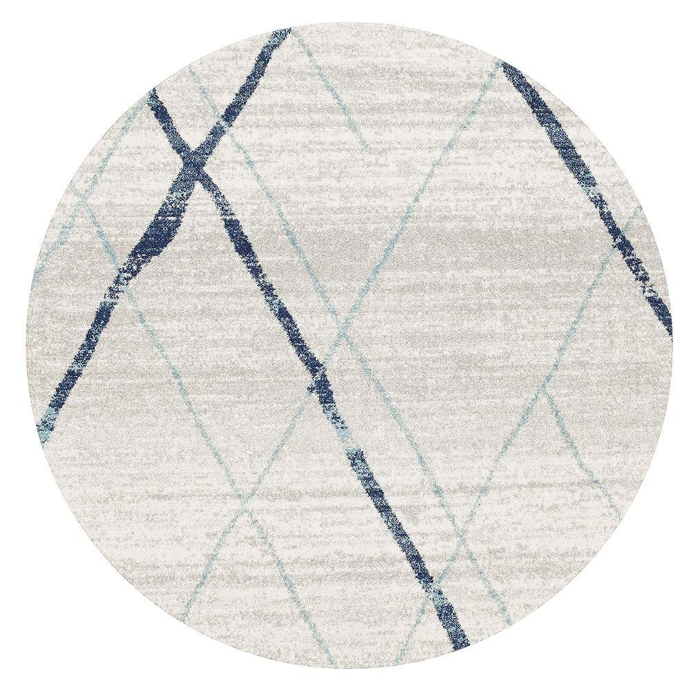 Gynama White Blue Contemporary Round Rug
