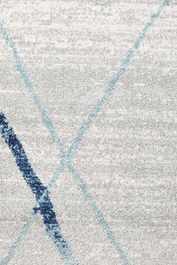 Gynama White Blue Contemporary Rug