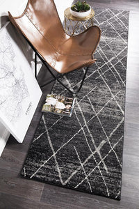 Gynama Charcoal Contemporary Runner Rug
