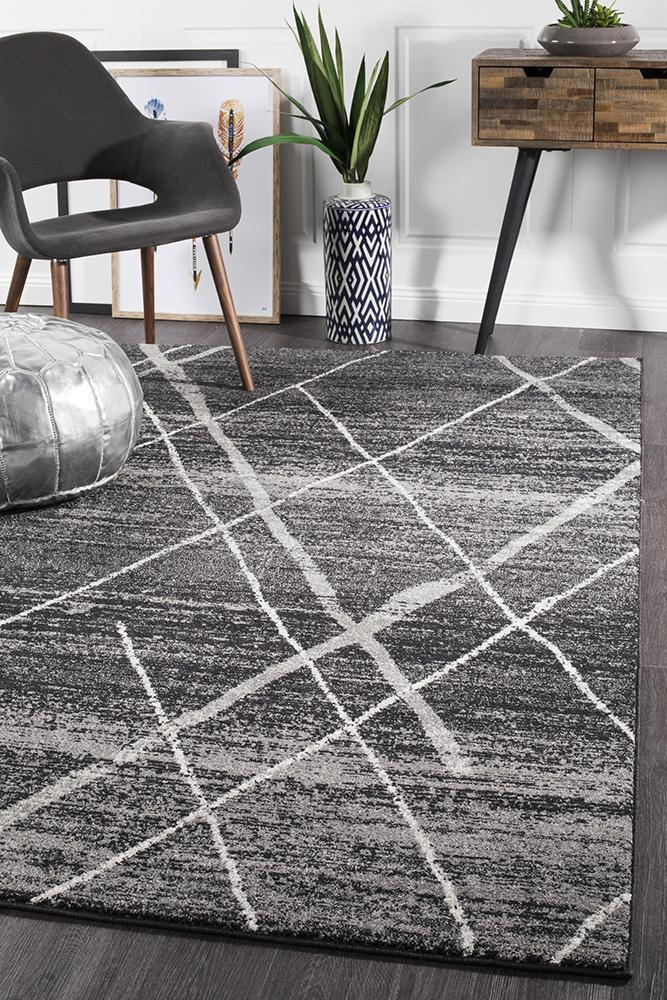 Gynama Charcoal Contemporary Rug