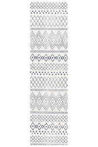 Gynama White Blue Rustic Tribal Runner Rug
