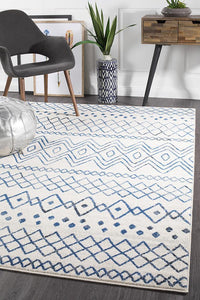 Gynama White Blue Rustic Tribal Rug