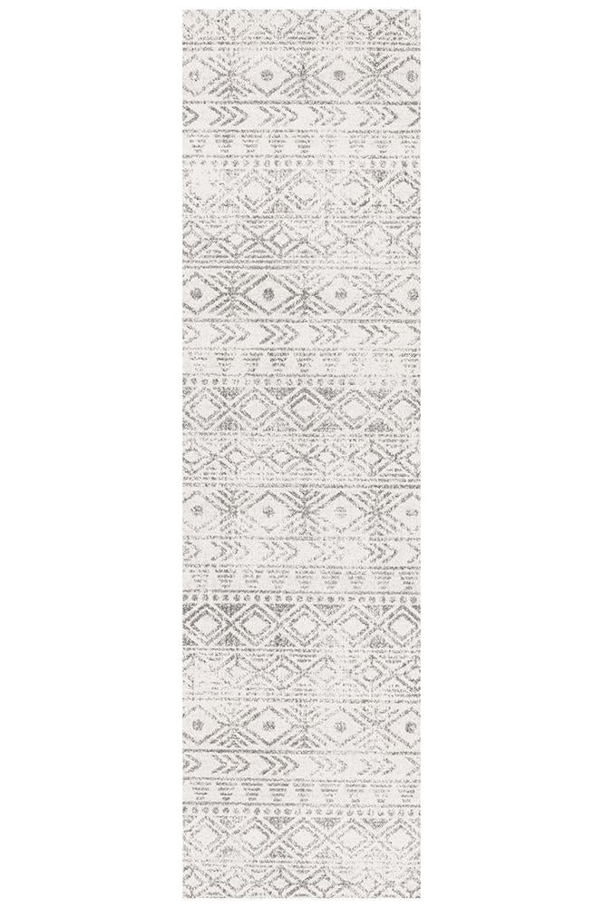 Gynama White Grey Rustic Runner Rug