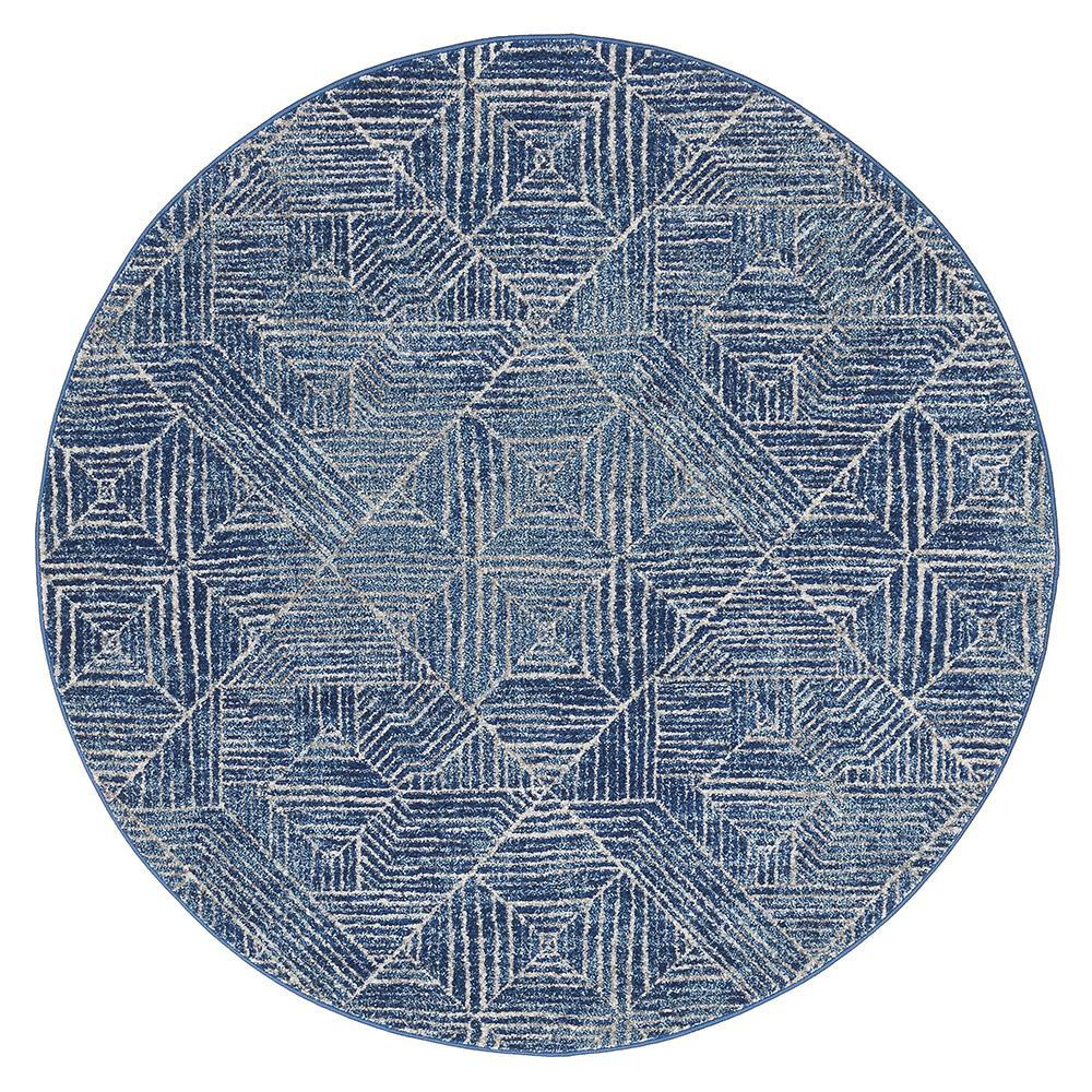 Gynama Contemporary Navy Round Rug