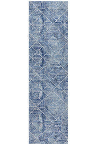 Gynama Contemporary Navy Runner Rug