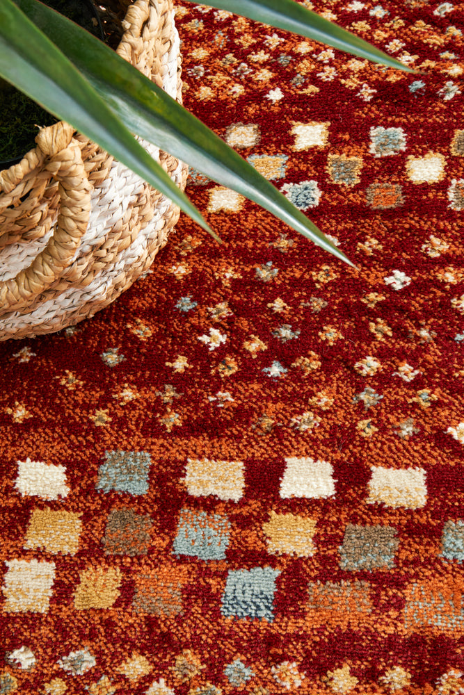Mayfair Squares Rust Runner Rug