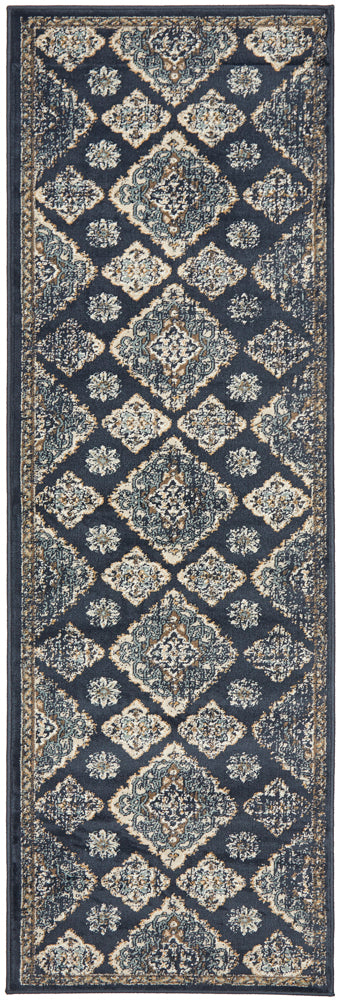 Mayfair Timeline Navy Runner Rug