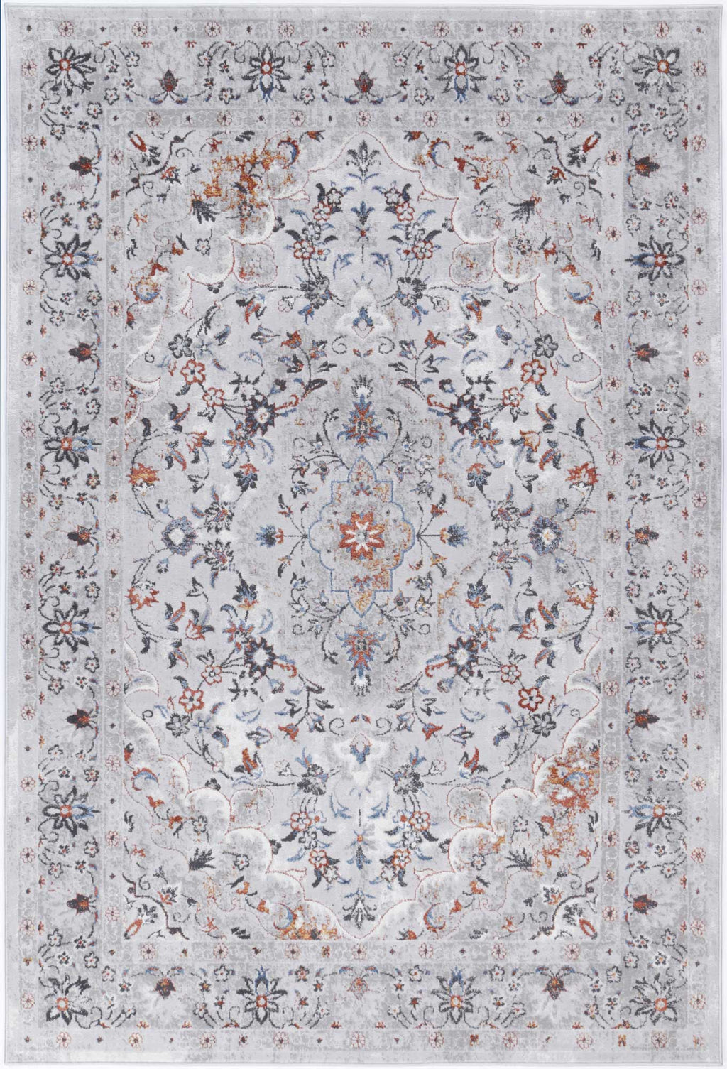 Isaiah Multi Grey Floral Traditional Rug