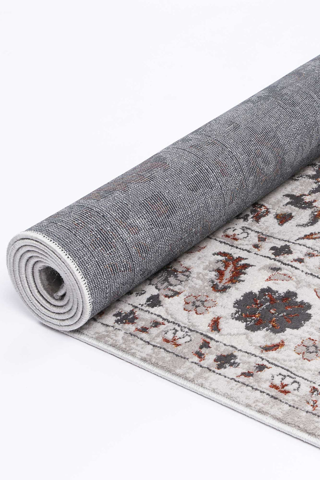 Isaiah Dark Grey Floral Runner Rug