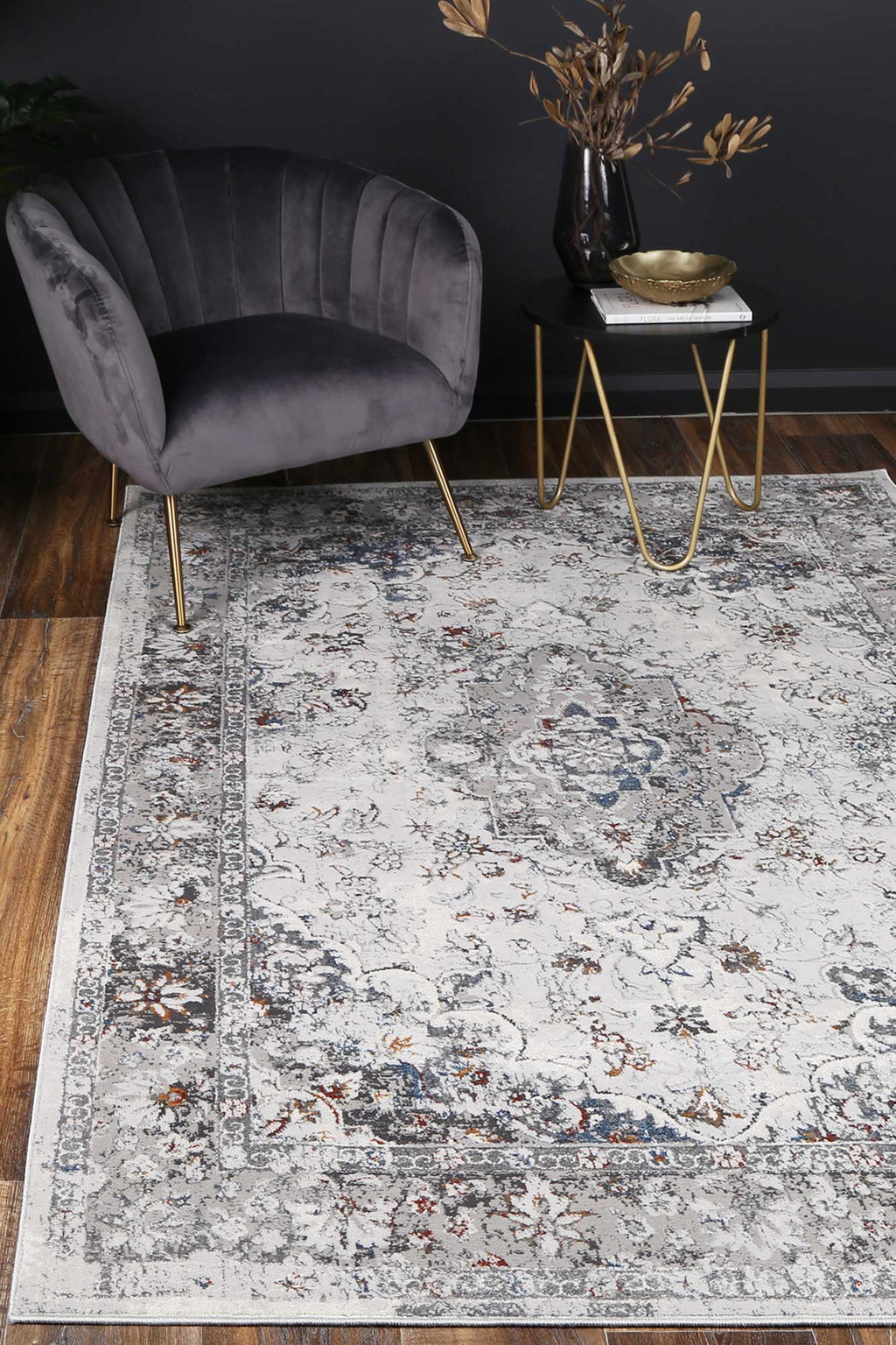 Isaiah Grey Multi Floral Traditional Rug