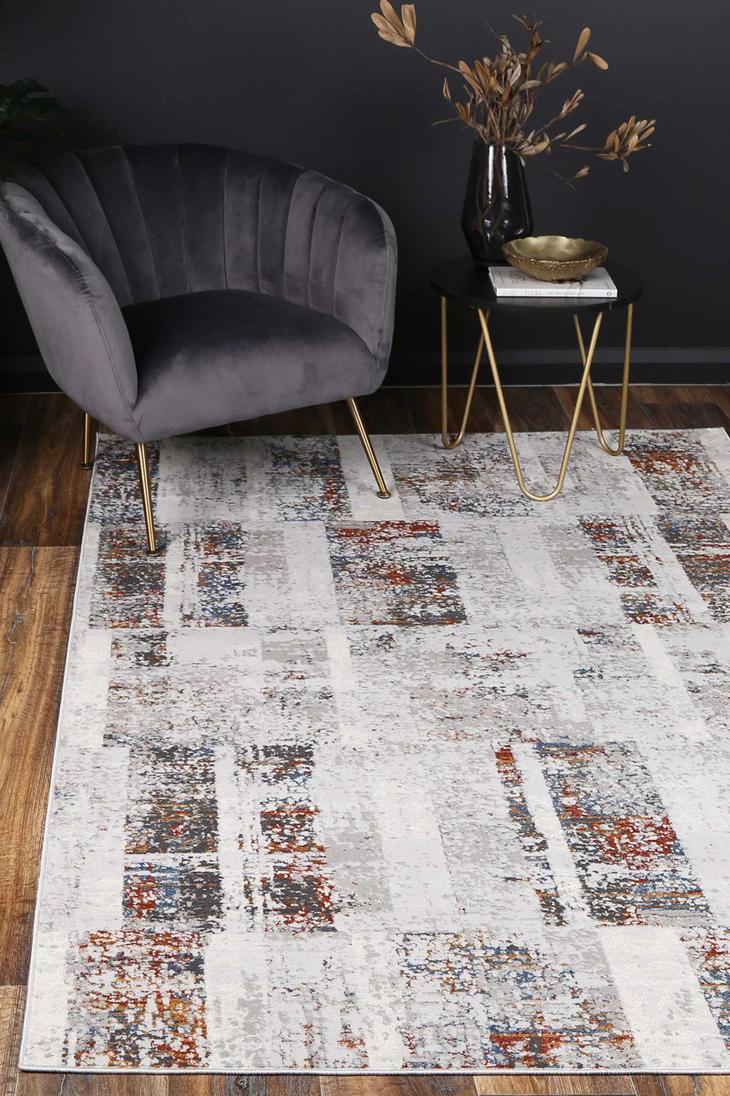 Isaiah Grey Rust Abstract Rug