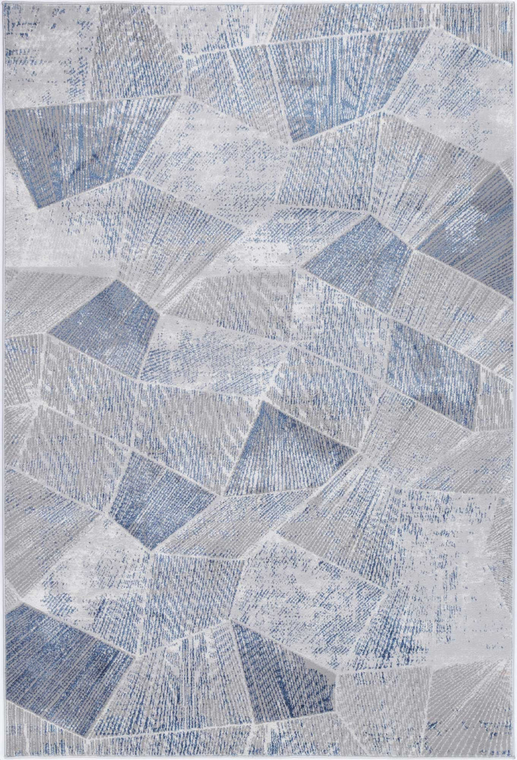 Isaiah Grey Blue Tiled Geometric Rug