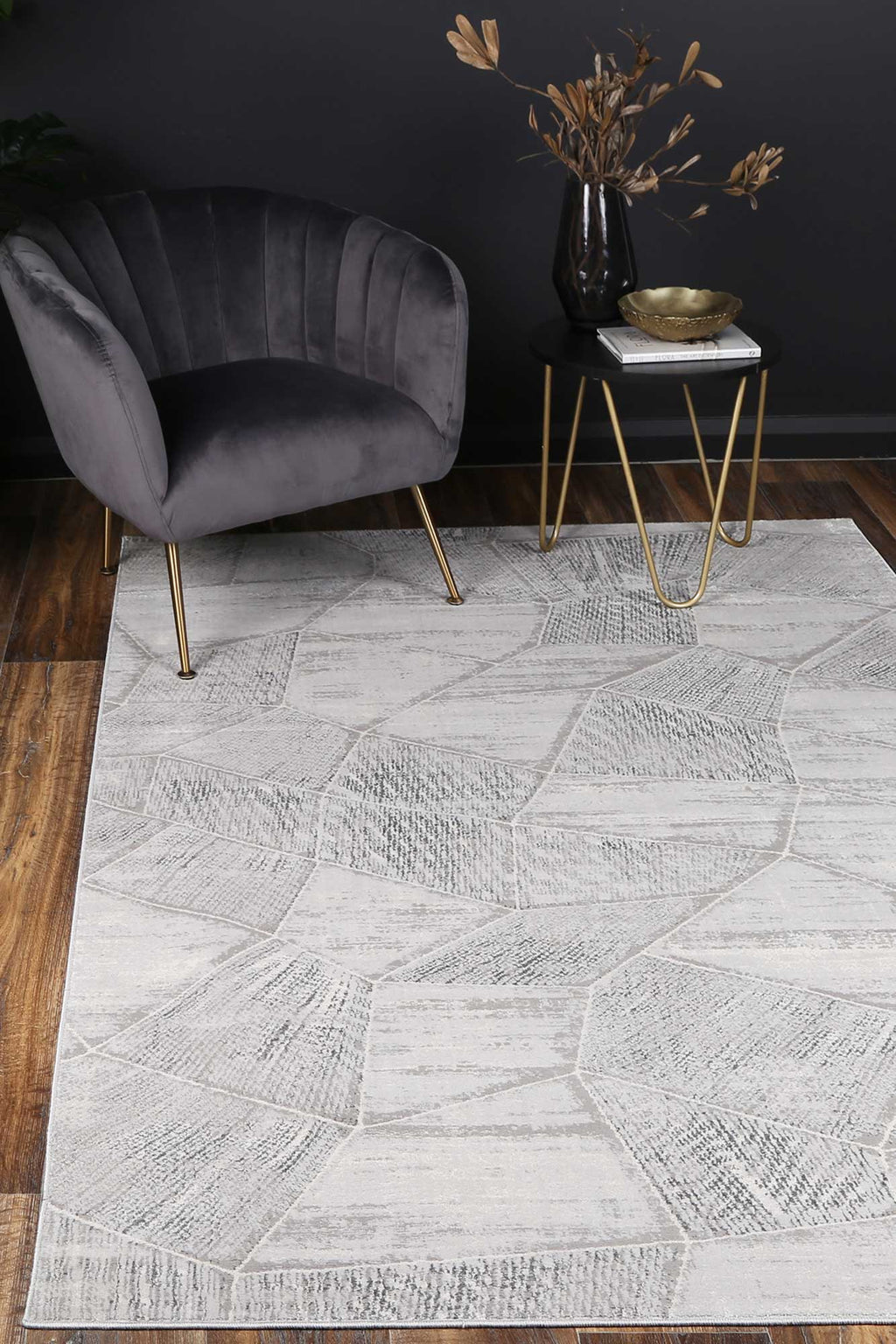Isaiah Grey Tiled Geometric Rug