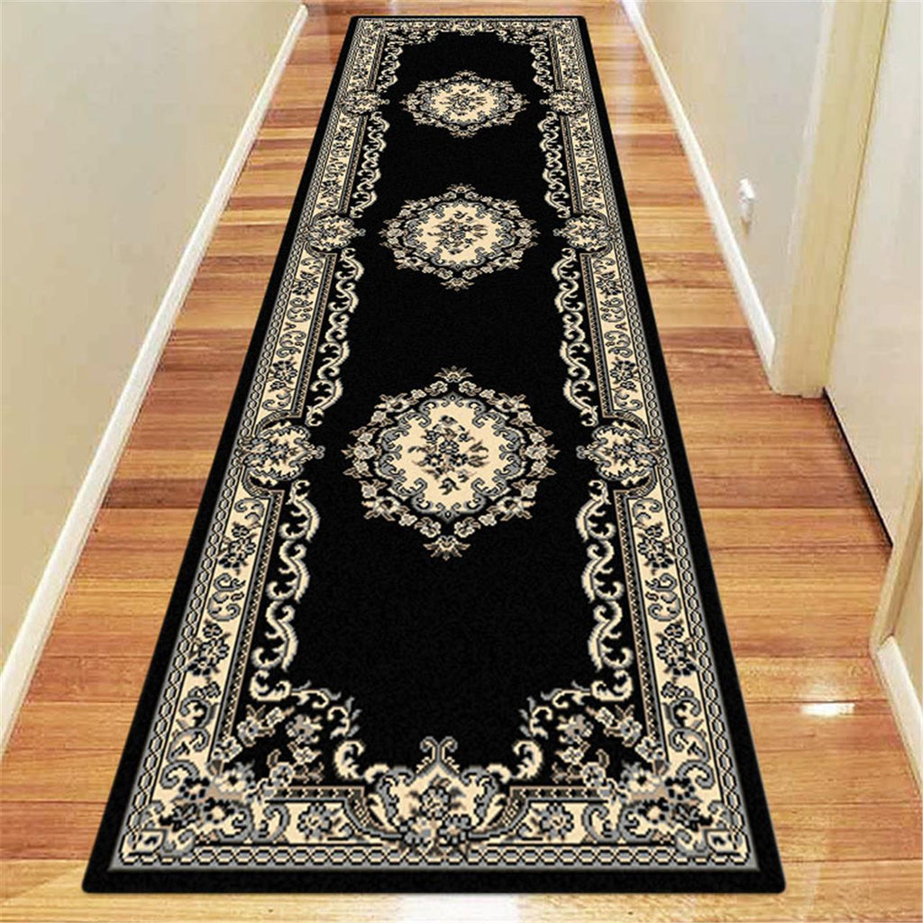 Ruby Floral Black Runner Rug