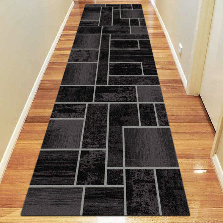 Ruby Twist Black Runner Rug