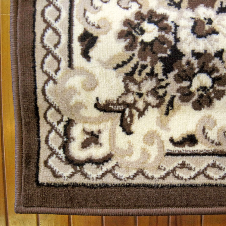 Ruby Floral Brown Runner Rug