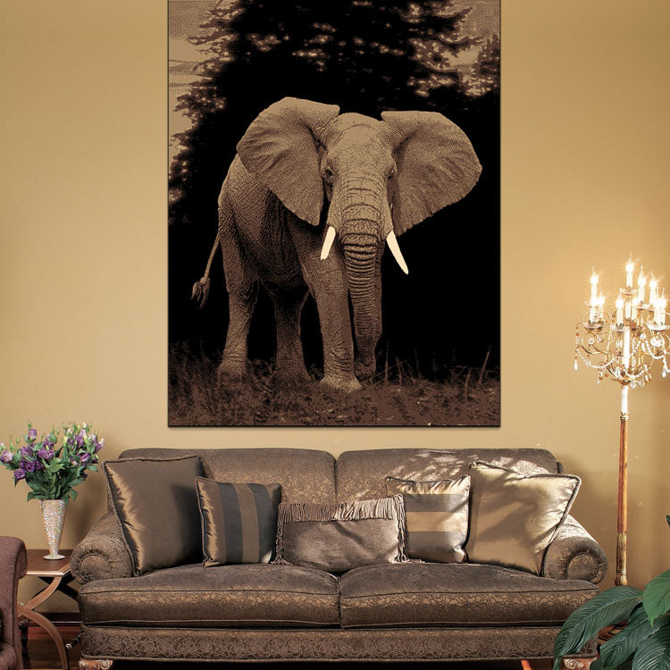 Ruby Elephant Black Rug