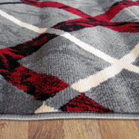 Ruby Maroon Grey Rug