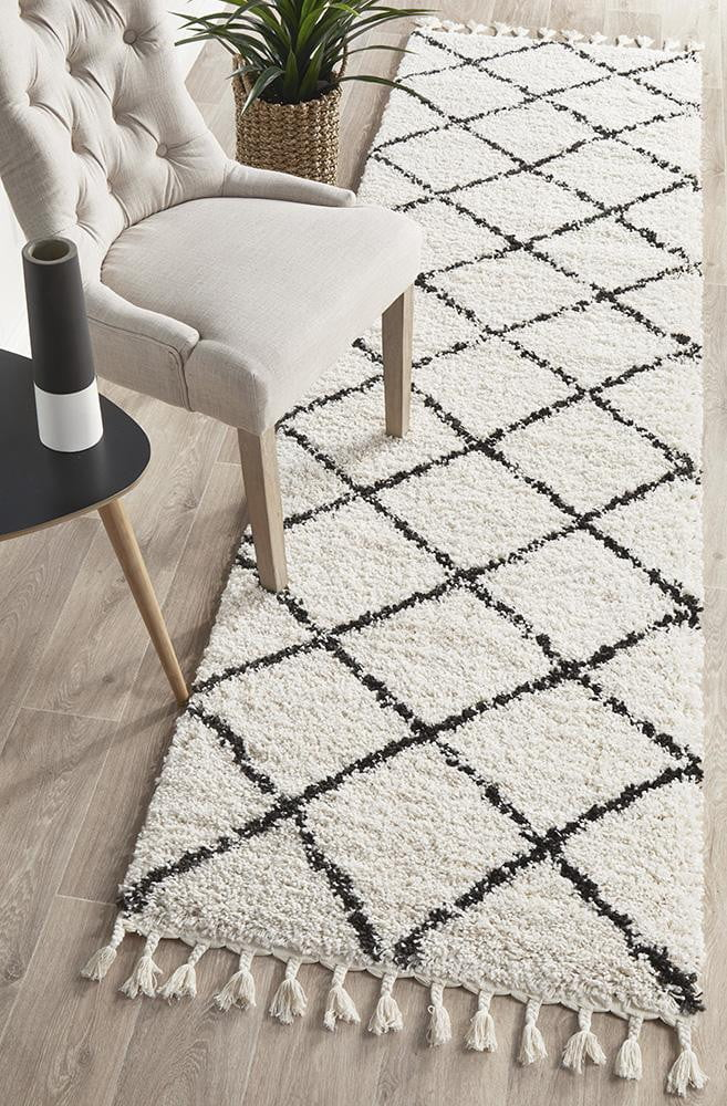 Buff White Runner Rug