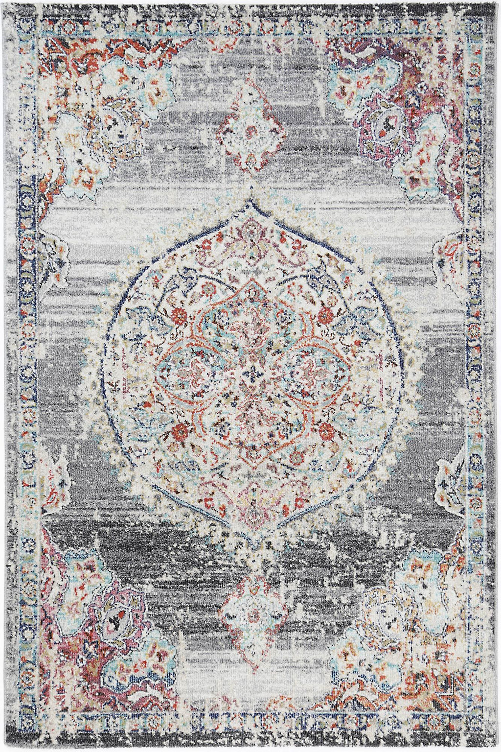 Chamber Medalion Transitional Grey Rug