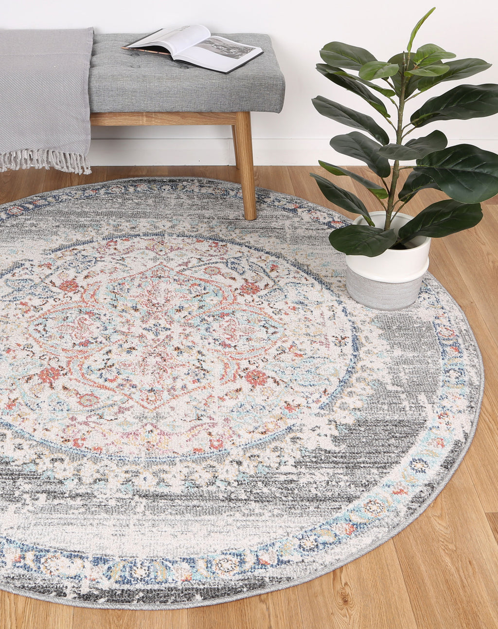 Chamber Medalion Transitional Grey Round Rug