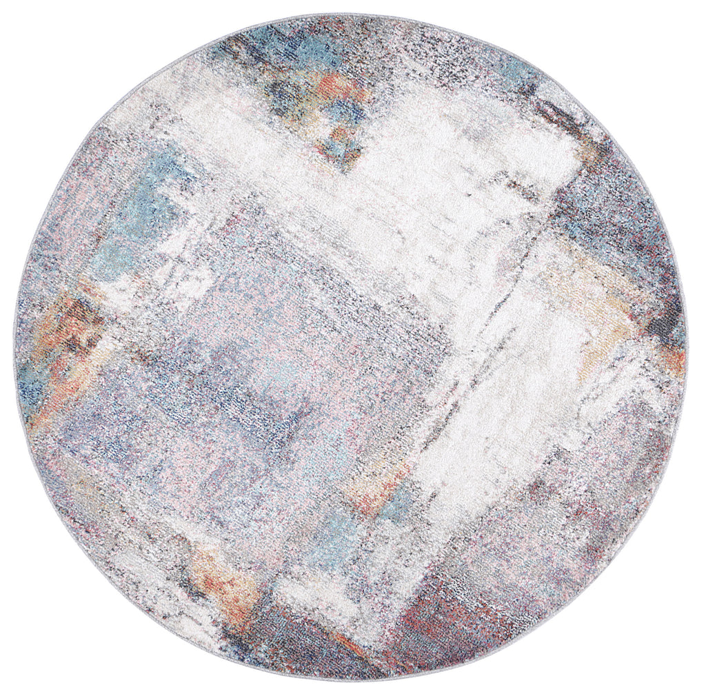 Chamber Hall Abstract Grey Round Rug