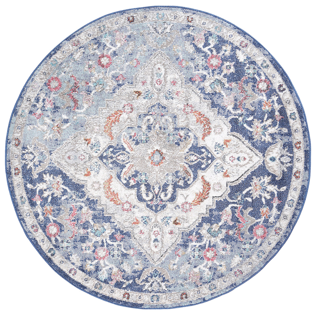 Chamber Cell Transitional Navy Multi Round Rug