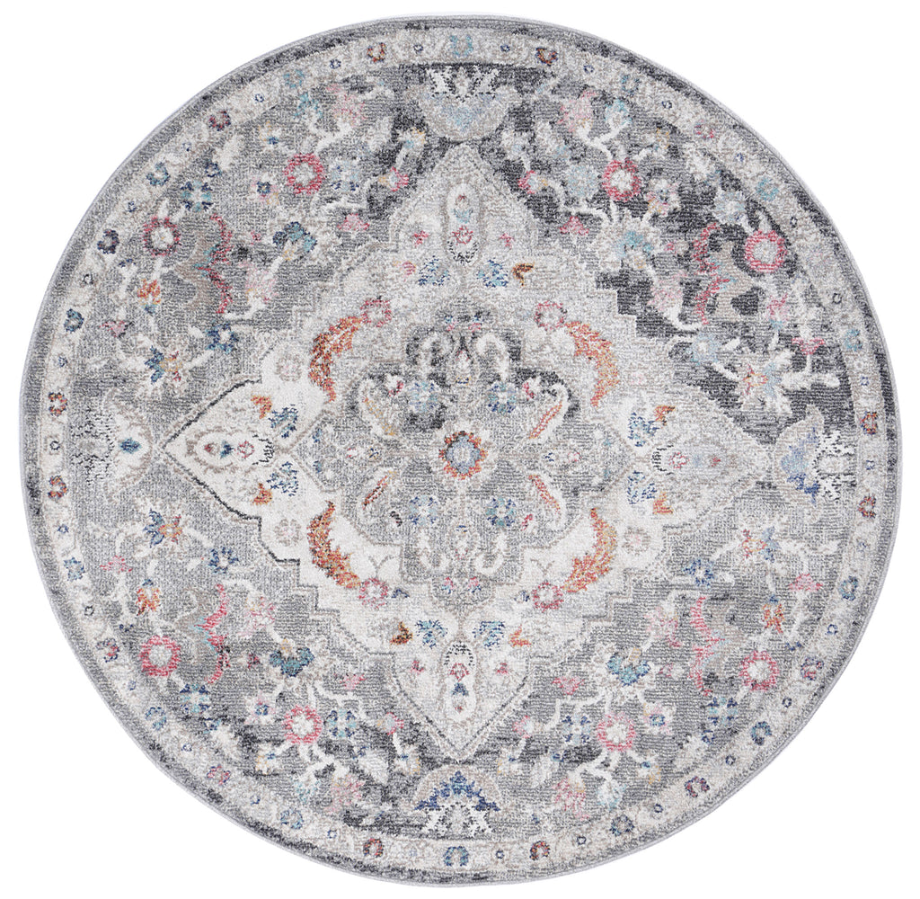 Chamber Cell Transitional Grey Round Rug