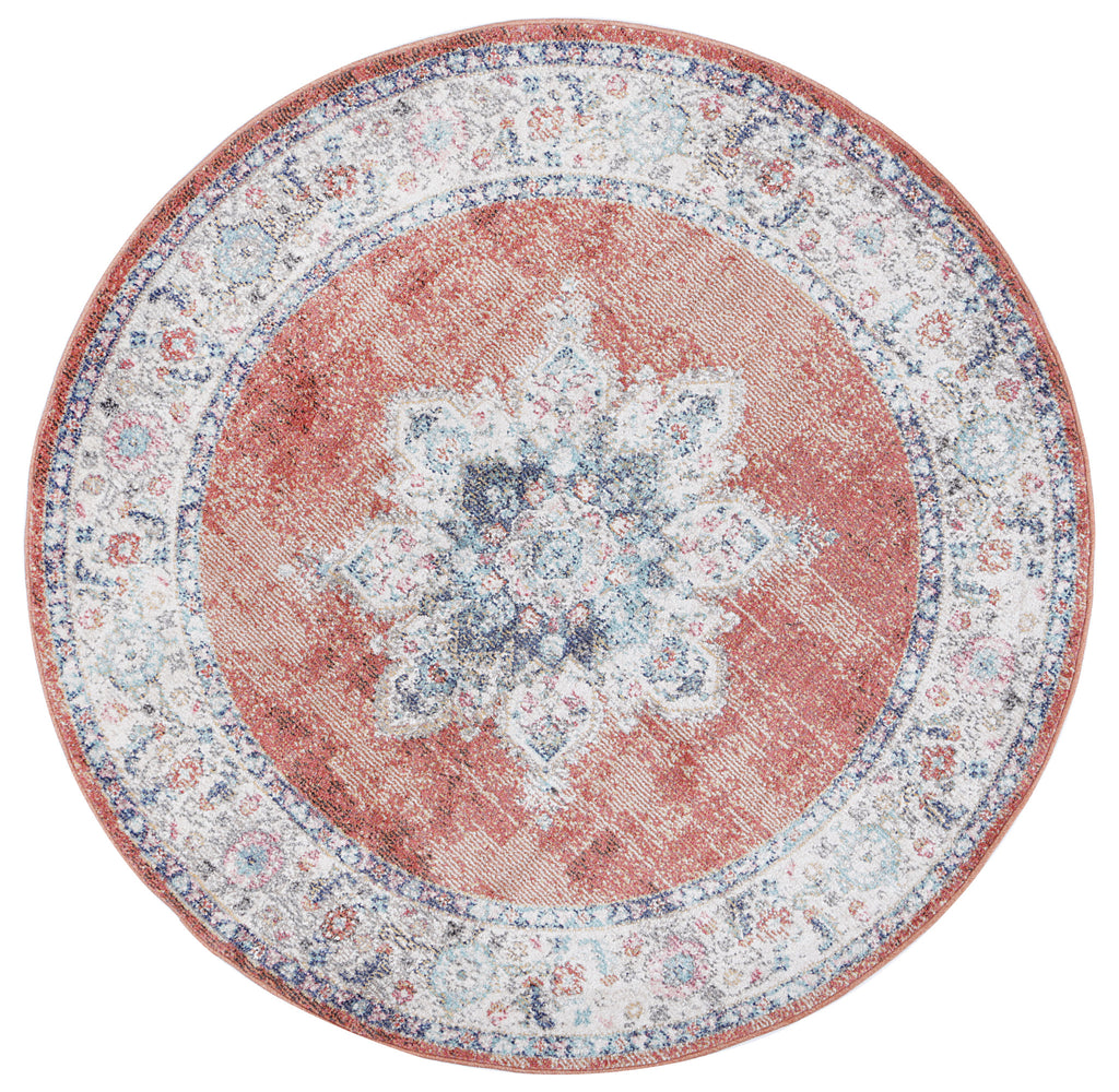 Chamber Room Transitional Rust Round Rug