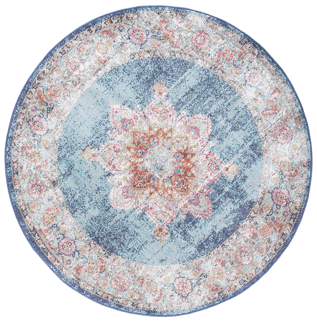 Chamber Room Transitional Navy Round Rug