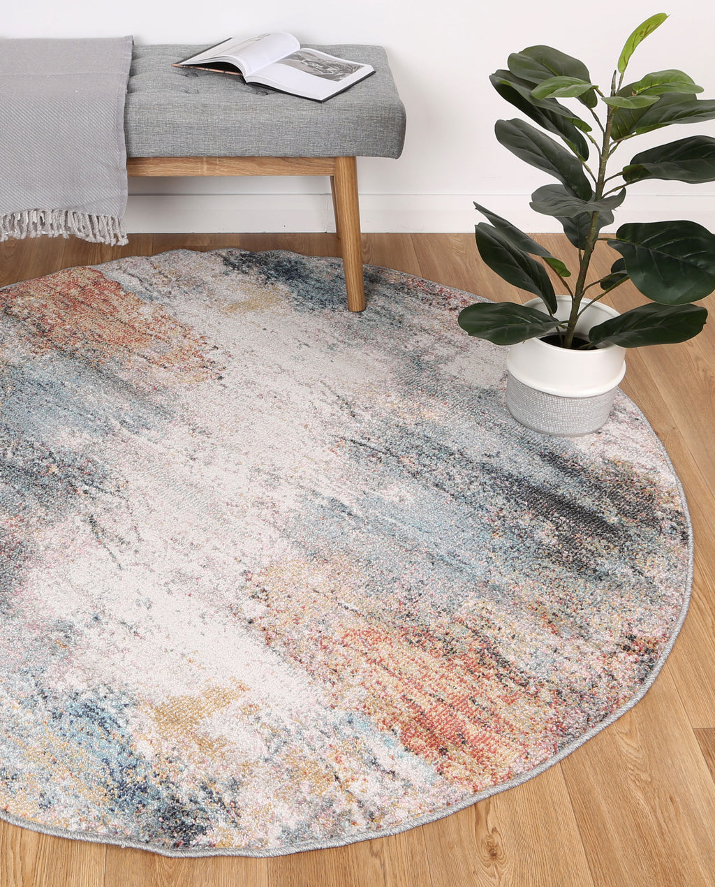 Chamber Saloon Abstract Soft Multi Round Rug